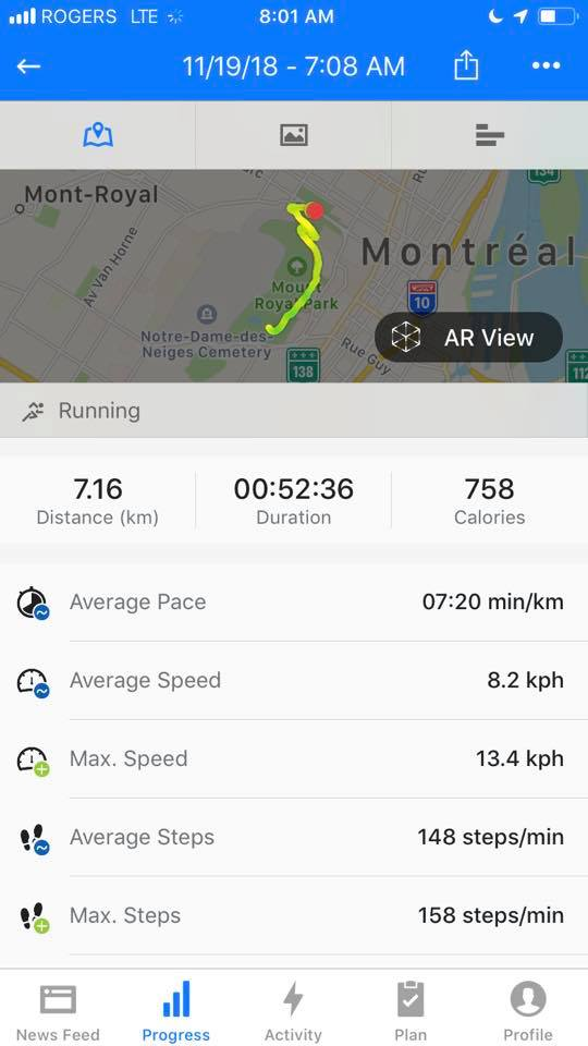 Mont Royal Nov 2018 - 7km